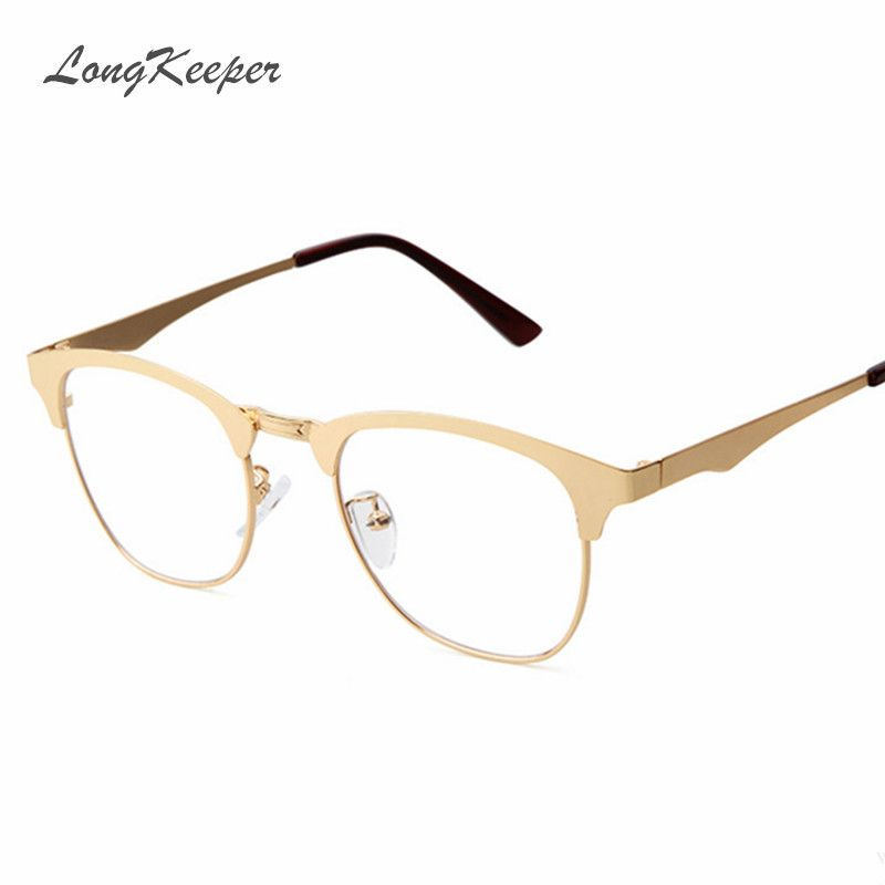 LongKeeper 2016 New Gold Metal Frame Eyeglasses For Women Men ...