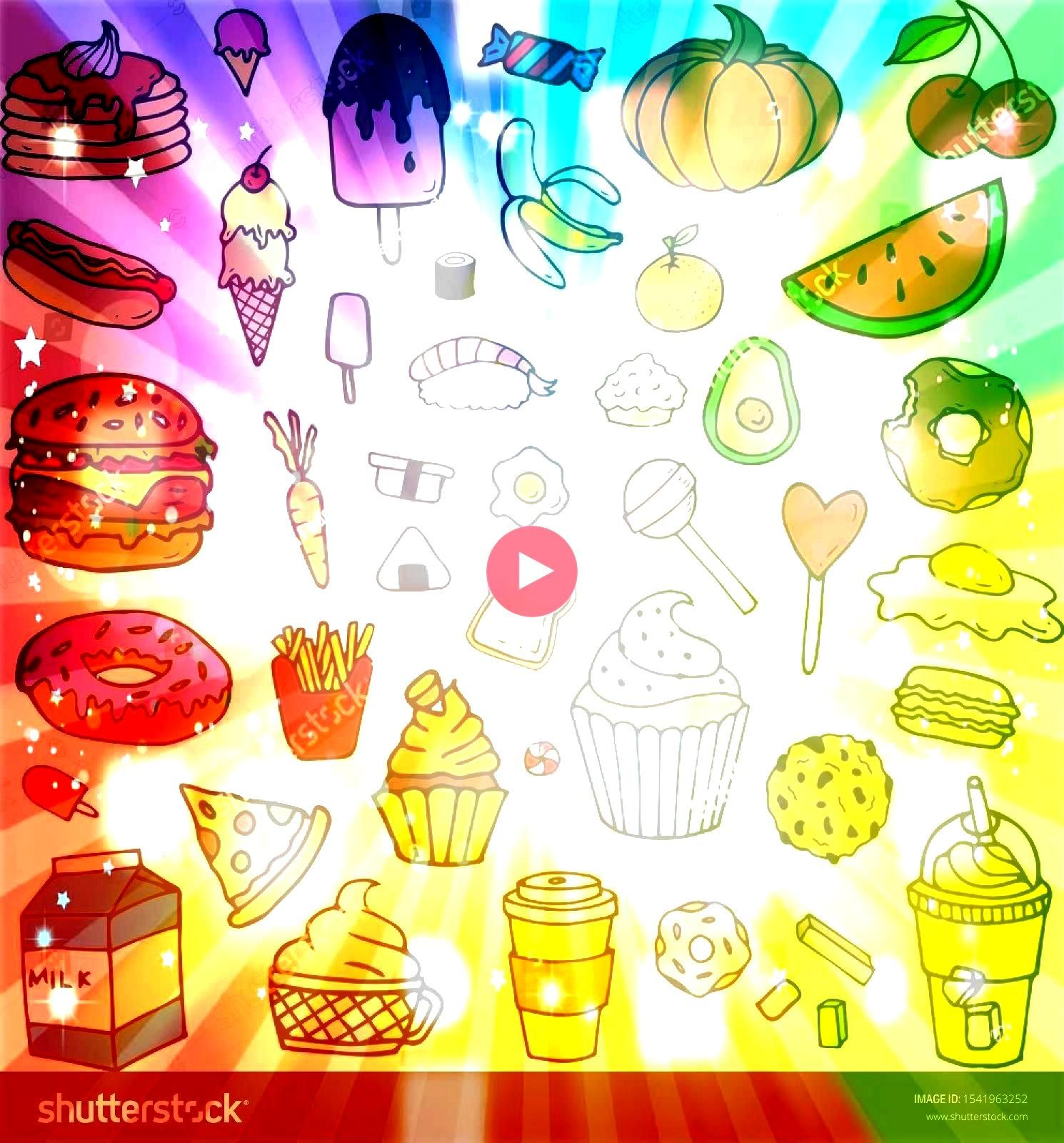 Pastry Fruit Vegetables Ice Cream Drinks Vector Cartoon Line Doodle Element Isolated on White Background Collection Set Junk Food Dessert Pastry Fruit Vegetables Ice Crea...