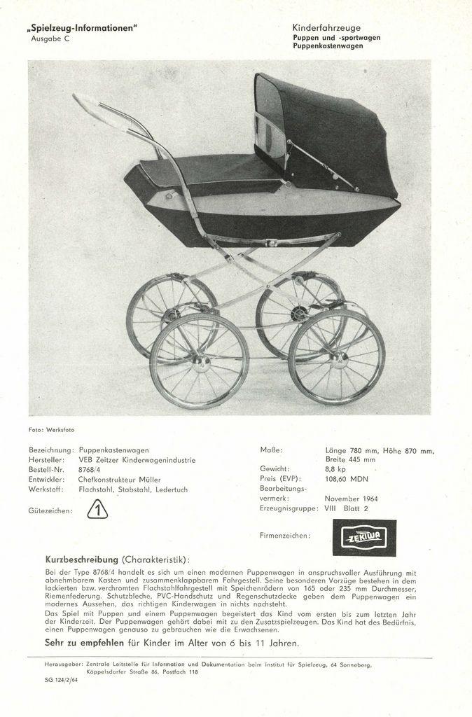 """https://flic.kr/p/b2465i   1964 Puppenkastenwagen - VEB Zeitzer Kinderwagenindustrie   """"Spielzeug-Informationen"""" . Zentrale Leitstelle für Information und Dokumentation beim Institut für Spielzeug, Sonneberg."""