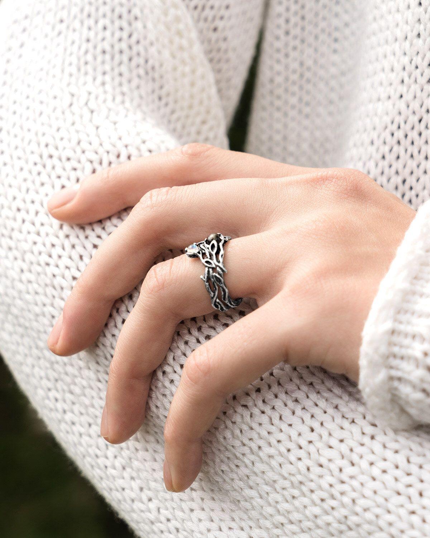 Set Of 2 Ayu Lasmi Moonstone Ring Set Black Star Sapphire Stacking Silver Ring Set Leaves Nature Ring
