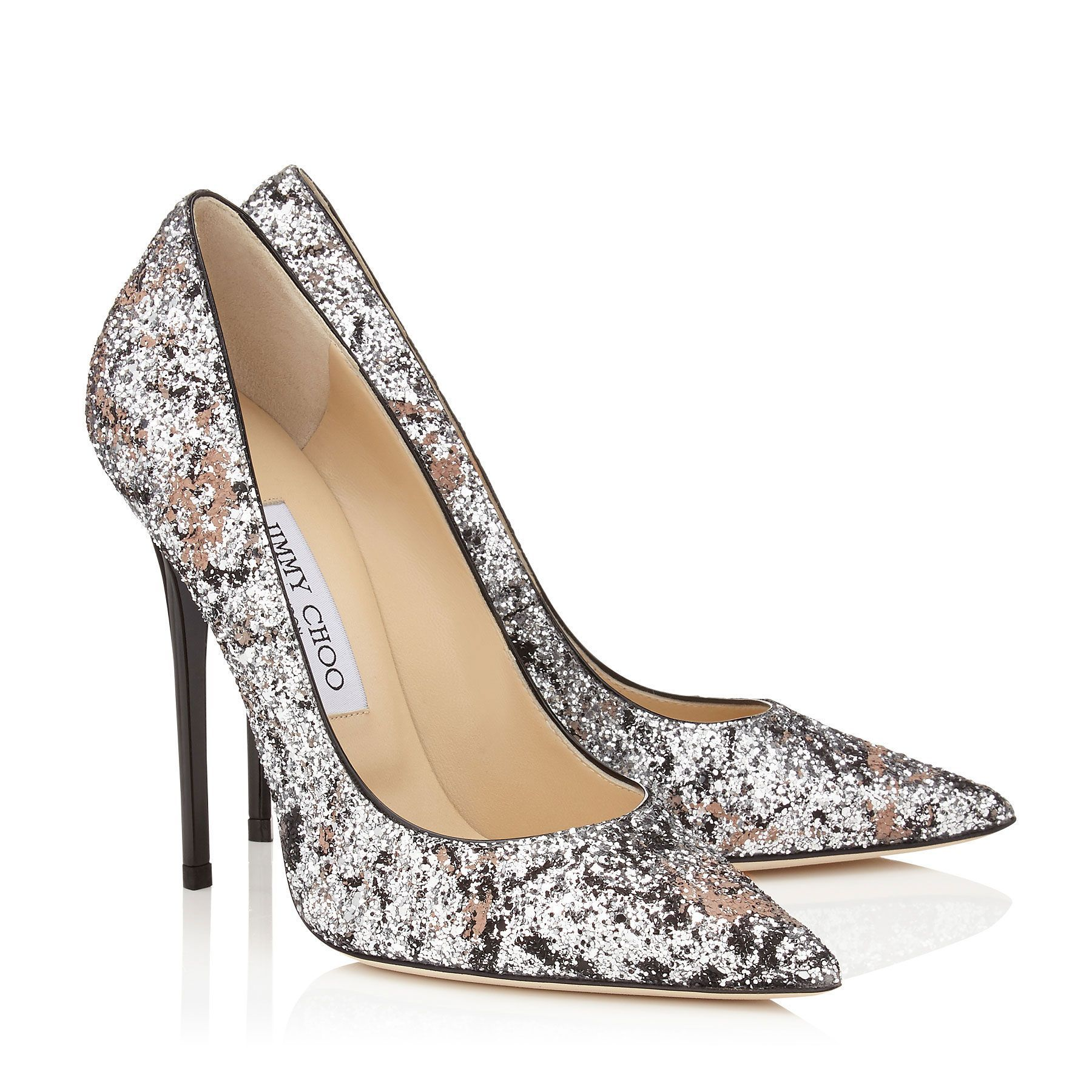 3440c123787e Silver and Ballet Pink Painted Coarse Glitter Fabric Pointy Toe Pumps