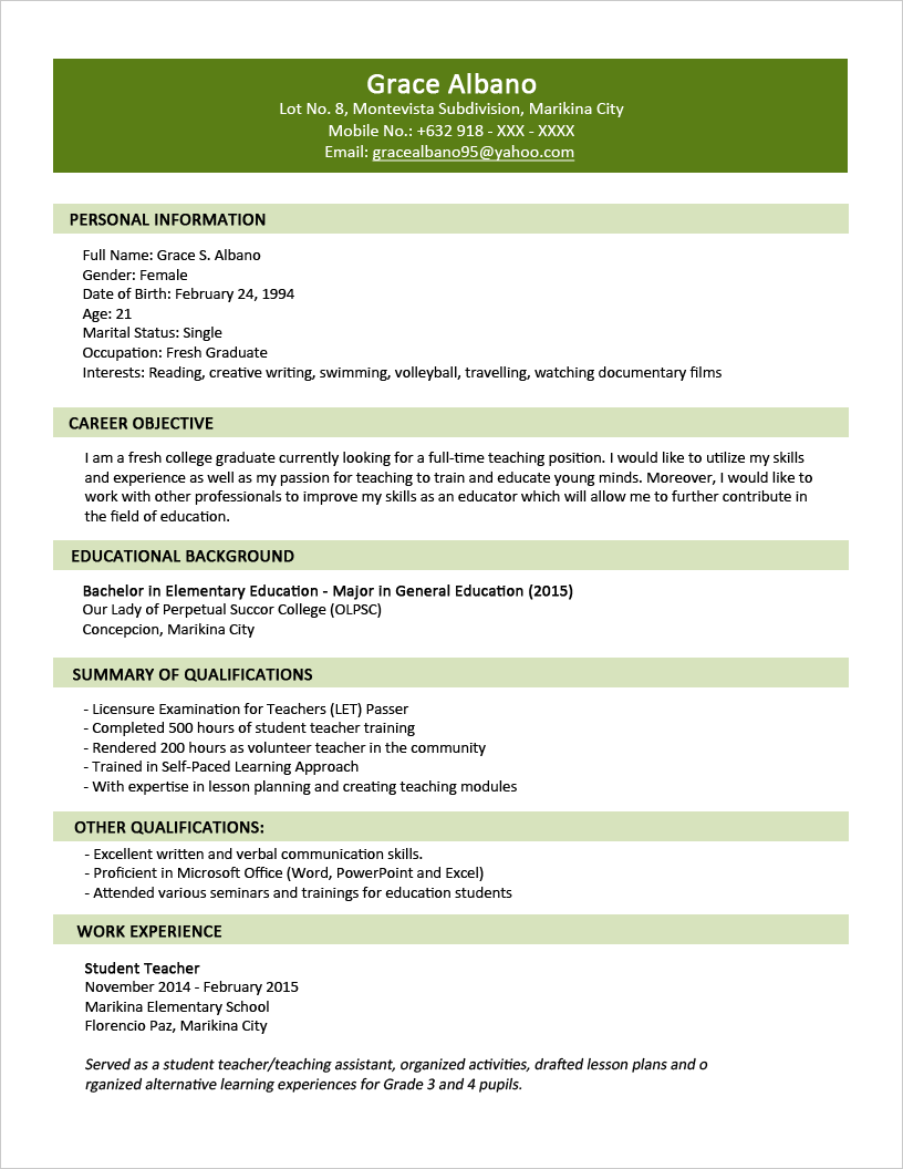 Sample Resume Format For Fresh Graduates   Two Page Format 1.1