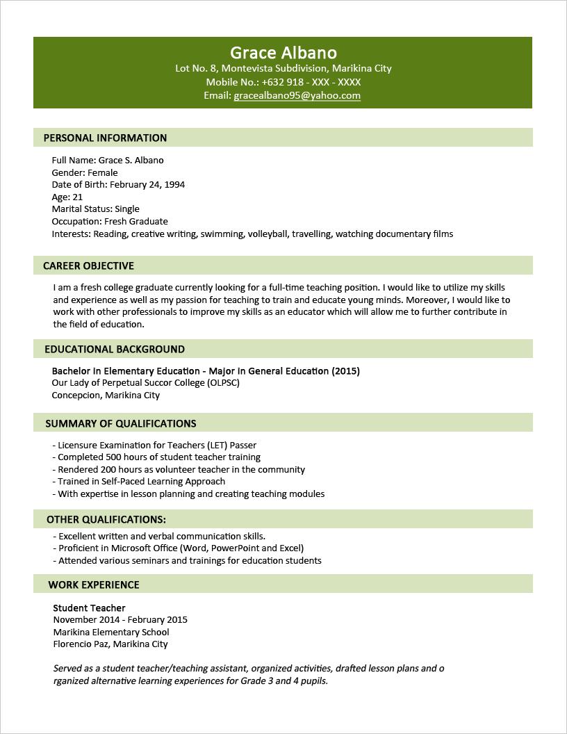 Sample Resume Format For Fresh Graduates Two Page Format Jobsdb Philippines Sample Resume Format Sample Resume Templates Job Resume Format