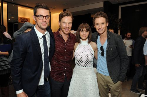"cumberbum: "" Actors Matthew Goode, Benedict Cumberbatch, Felicity Jones and Eddie Redmayne attend the Variety Studio presented by Moroccanoil at Holt Renfrew during the 2014 Toronto International Film..."