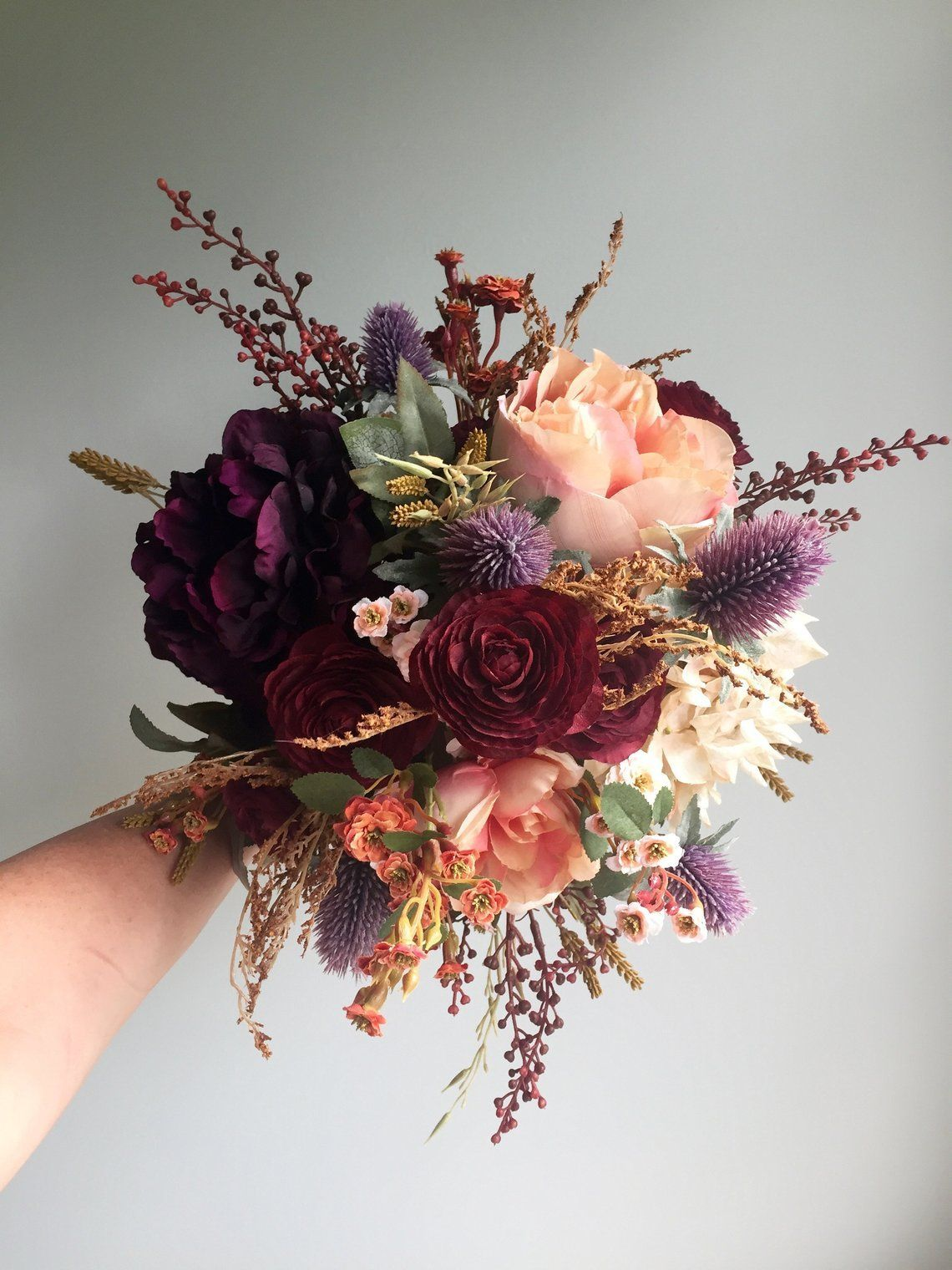 Fall Wedding Bouquet, Silk Wedding Bouquet, Rustic Bridal Bouquet, Burgundy Bouquet, Autumn F...