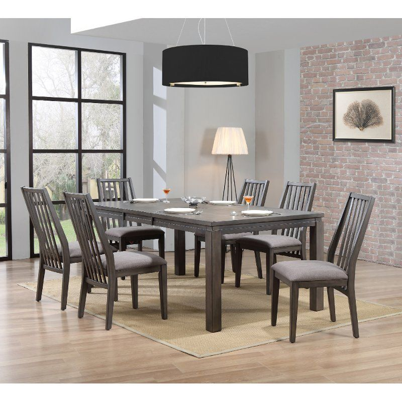 Contemporary Gray 7 Piece Dining Set Hartford Gray Dining