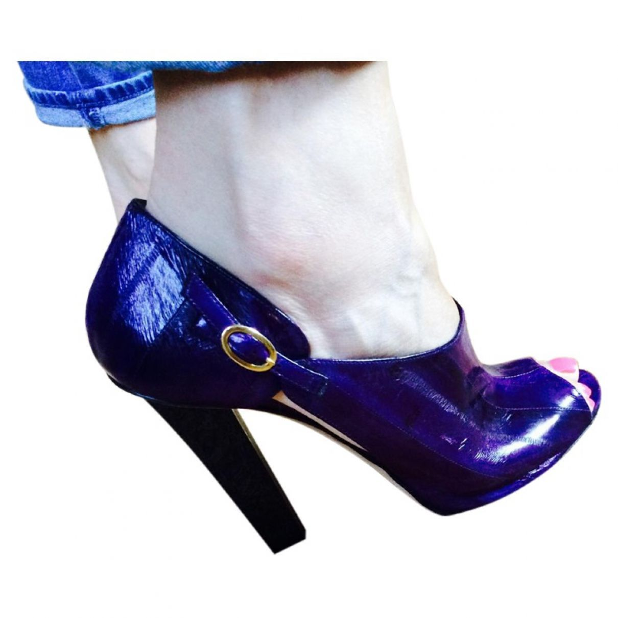 a92b2d5a400e JIMMY CHOO  Purple Exotic leathers Heels  527.31 SIZE  40 EU