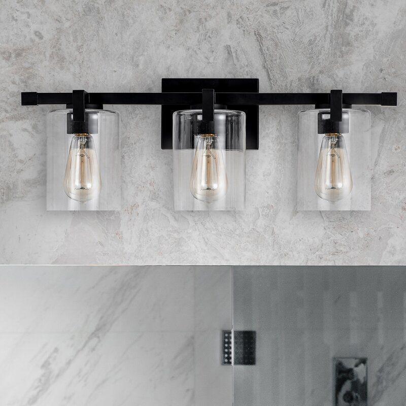 Hicklin 3 Light Dimmable Vanity Light Modern Bathroom Light Fixtures Black Bathroom Light Fixtures Light Fixtures Bathroom Vanity Matte black bathroom light fixtures