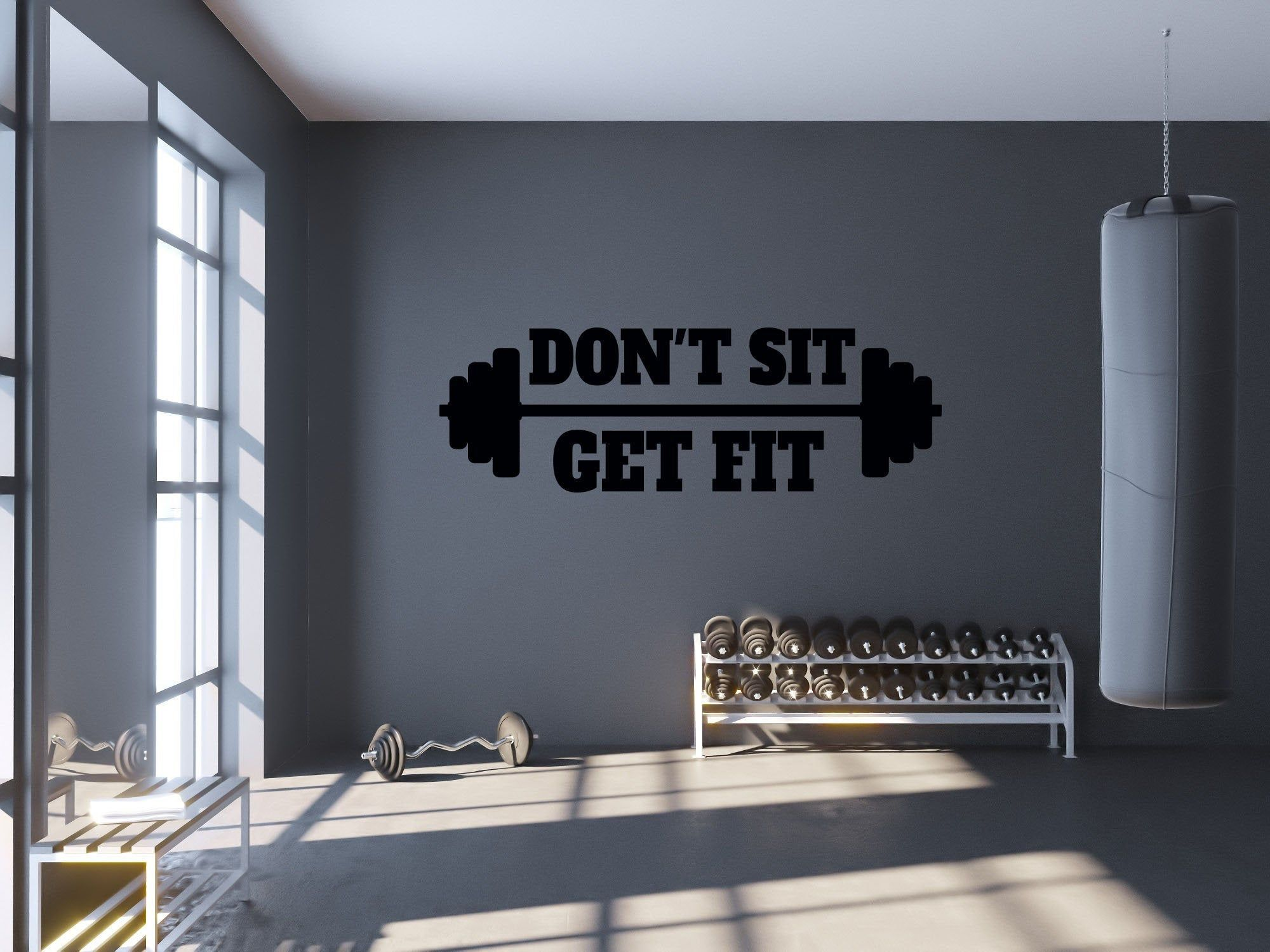 Gym Wall Decal Don T Sit Get Fit Workout Quote Wall Etsy Gym Wall Decor Gym Wall Decal Gym Room At Home