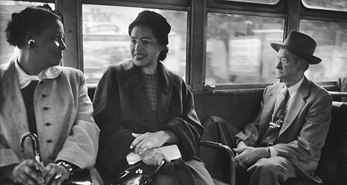 Rosa Parks Sits At The Front Of A Bus Following The End Of Racial