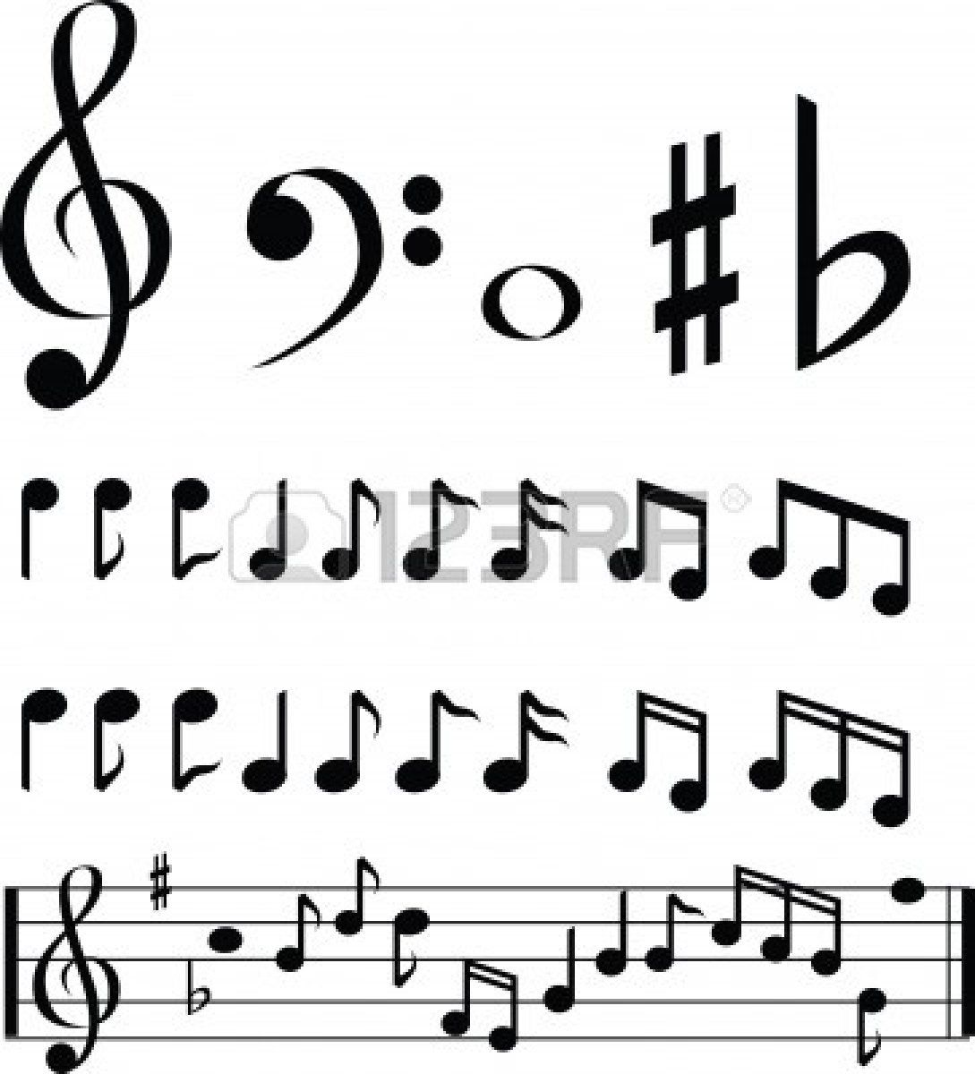 black and white music note selection icon set Music