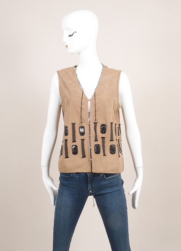 New With Tags Grey, Brown, And Black Silk Trim Beaded Leather Vest