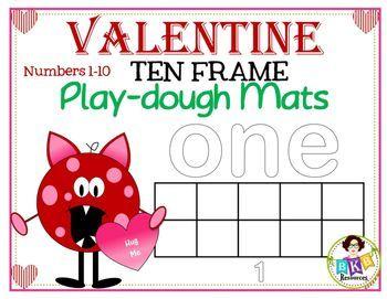 Valentine Ten Frame Play Dough Mats With Images Ten Frame Math Activities Elementary Classroom Fun
