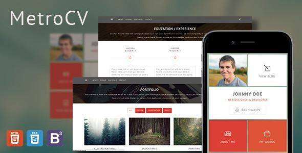 ThemeForest - MetroCV-OnePage Resume Portfolio WordPress Theme - wordpress resume theme