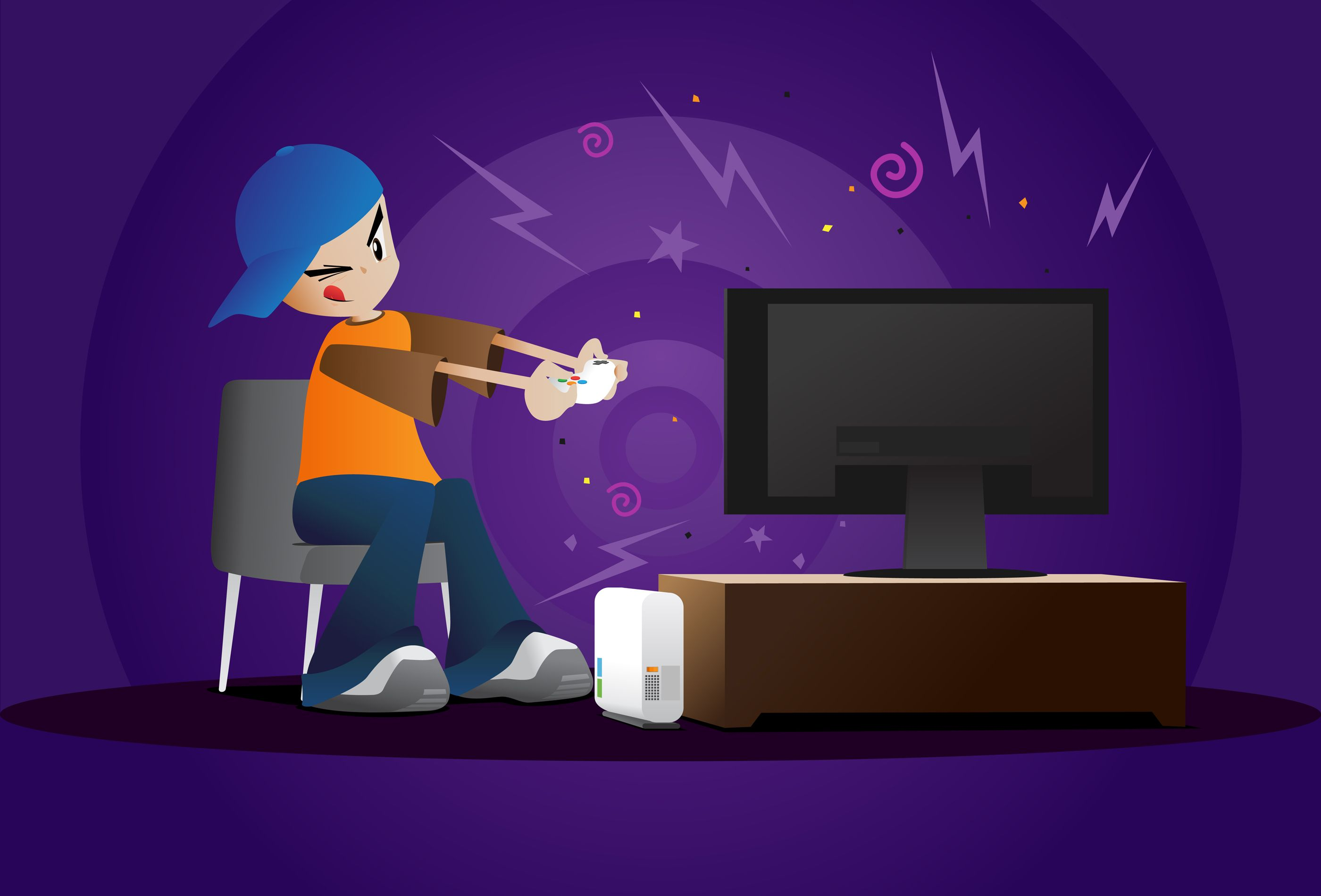 Boy Playing Video Games - Vector illustration of a young boy focused ... http