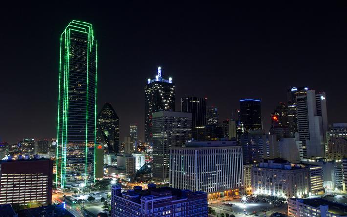 ダウンロード画像 ダラス 高層ビル群 夜 街の灯 米国 町並み