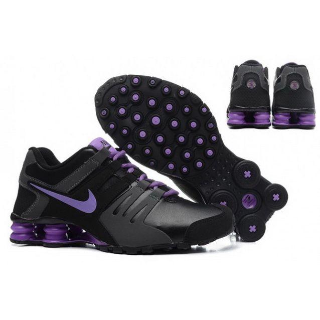 Women Nike Shox Current Shoes Black Gray Purple