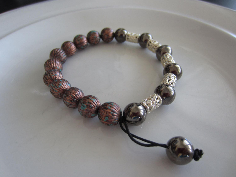 Menus brown and silver toned beaded bracelet menus gift idea