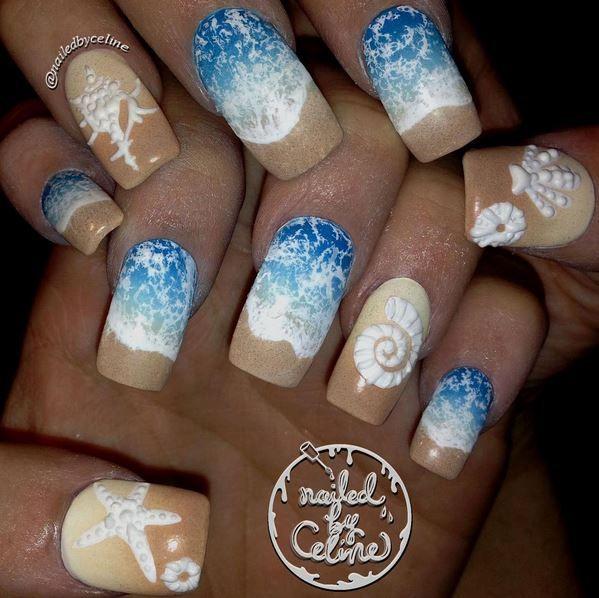 @nailedbyceline summer beach nails