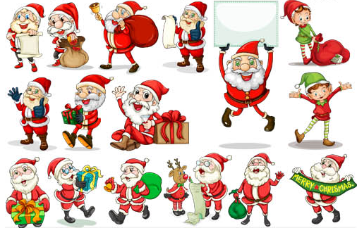Sant Clauses cute vector set Christmas, Graphic design