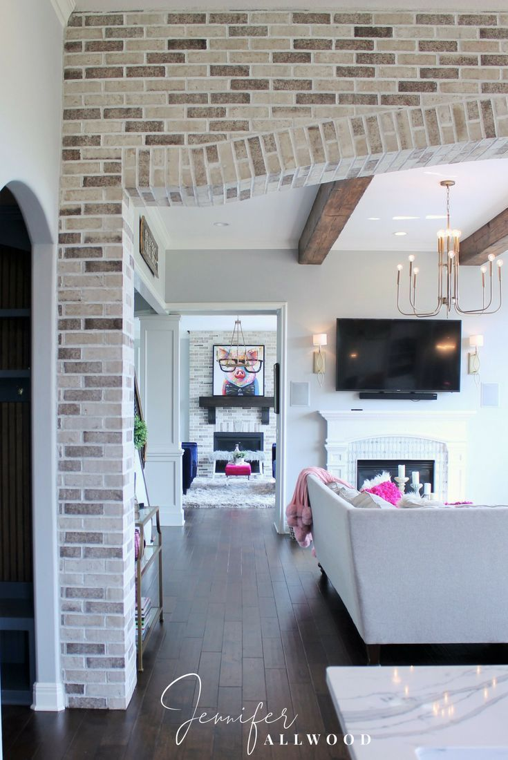 Ideas : Comfy + Glam Light Brick Archway in the Kitchen and Hearth room by Jennifer Allwood Brick Archway Interior Makeover light brick archway in living room, Brick Archway Interior Makeover, Brick Archway Designs, Brick Arches inside Home. light brick archway i