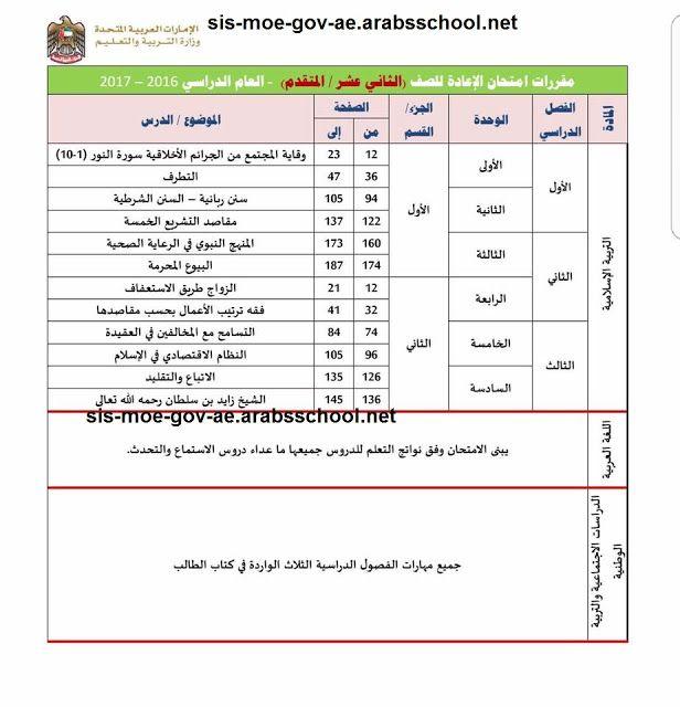 Http Sis Moe Gov Ae Arabsschool Net 2017 06 Courses 12th Grade Repeat Exam Html 12th Grade Exam Governor
