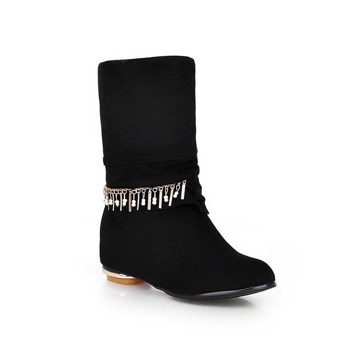 Womens Closed Round Toe Low Heel Imitated Suede Frosted Solid Boots with Metalornament