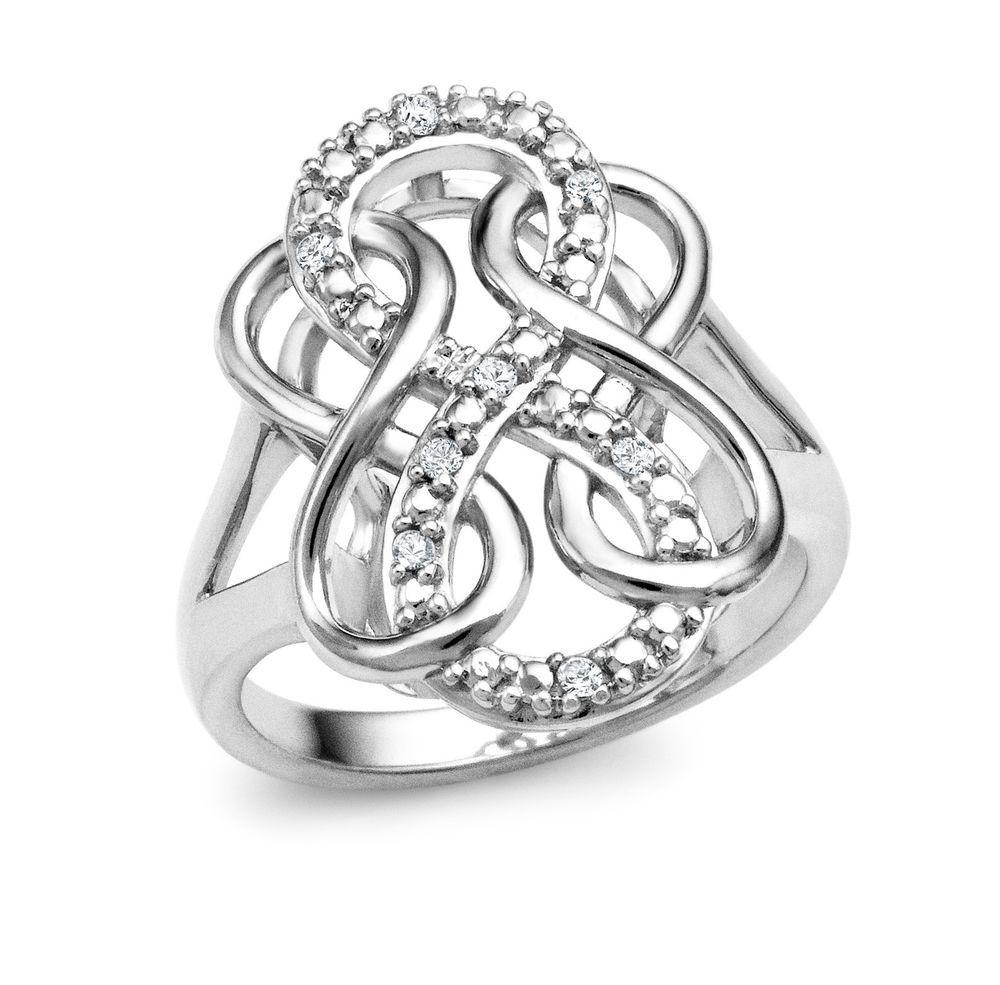 Diamond infinity eternity wedding engagement ring sz 5 sz