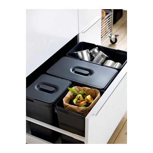 VARIERA Lid for recycling bin, black Corner, Grand designs and