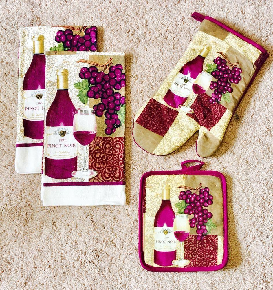 Pinot Noir Wine Themed Kitchen Linen Set 100 Cotton By Royal Crest New Ebay Wine Decor Kitchen Wine Theme Wine Theme Kitchen