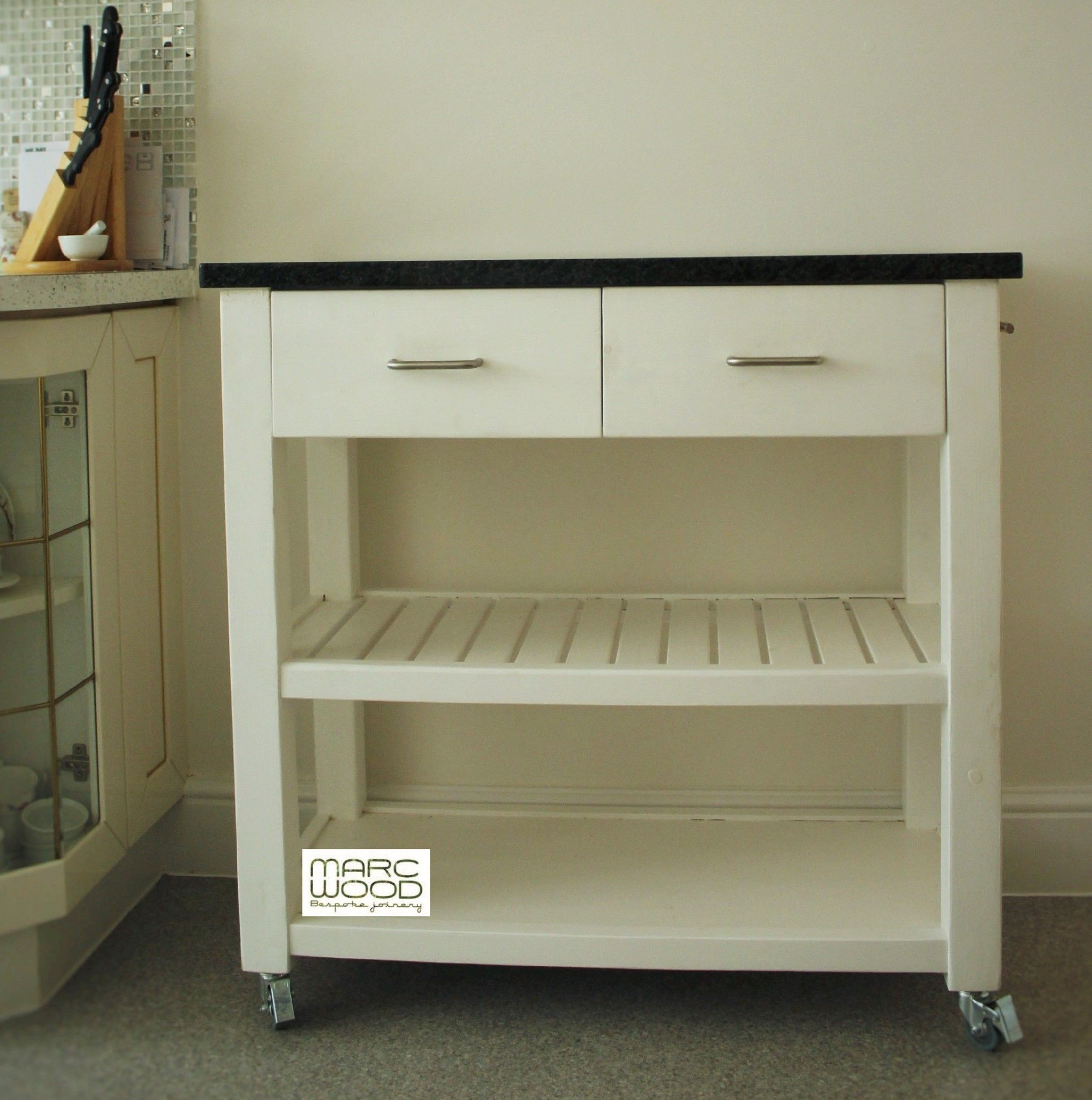 Handmade Available On Etsy Uk Kitchen Island Butchers Trolley In Eco Friendly Solid Wood Painted Fresh White With Granite Worktop To