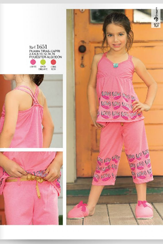 Pijama tiras capri Ref: 1651 Tallas: 2, 4, 6, 8, 12,14,16 Colores ...