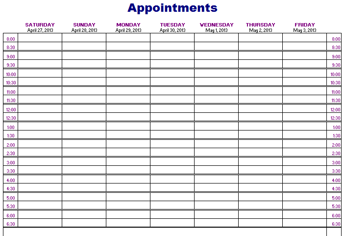 Sample Appointment Calendar Template Google Search Teaching