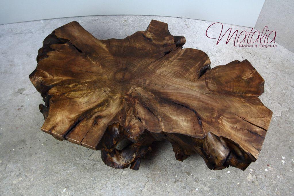 Couchtisch Aus Baumscheibe Baumscheiben Baumwurzel