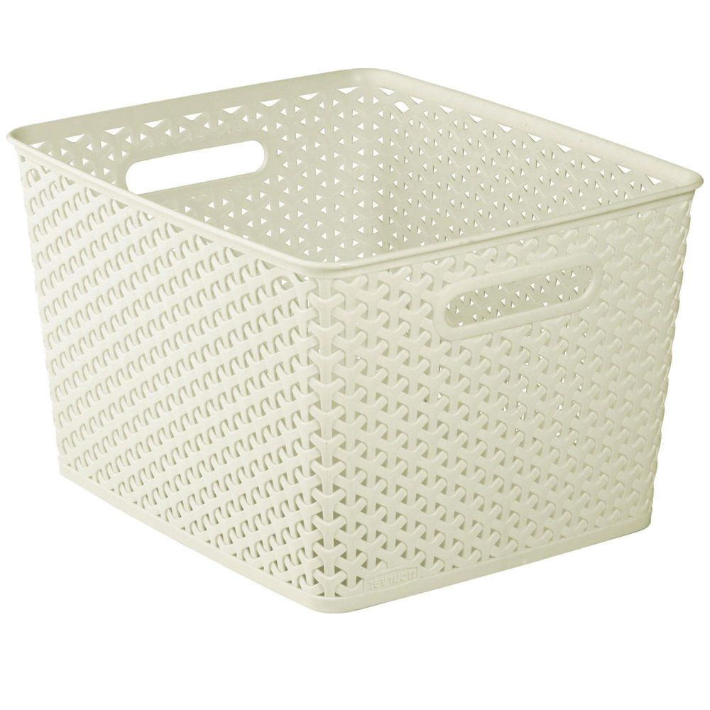 office storage baskets. Rattan Effect Basket Large Curver 18Ltr Plastic Organiser Storage Vintage White | EBay Office Baskets K