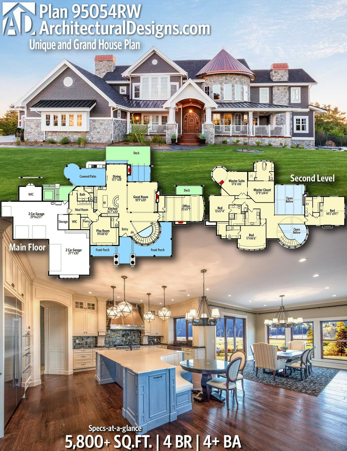 Plan 95054rw Unique And Grand House Plan Dream House Plans House Plans Grand Homes