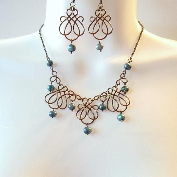 Bronze Wire Work Necklace Set - Teal Freshwater Pearls - Wire ...