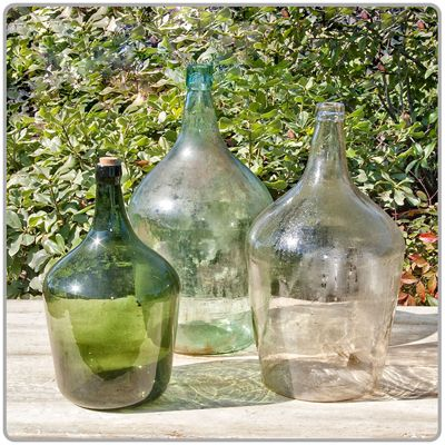 """Antique Wine Bottle  Available in a variety of sizes and colors. Please specify choice when ordering. Clear Bottle - 10"""" x 18"""" . Green Bottle - 9"""" x 14"""" ."""