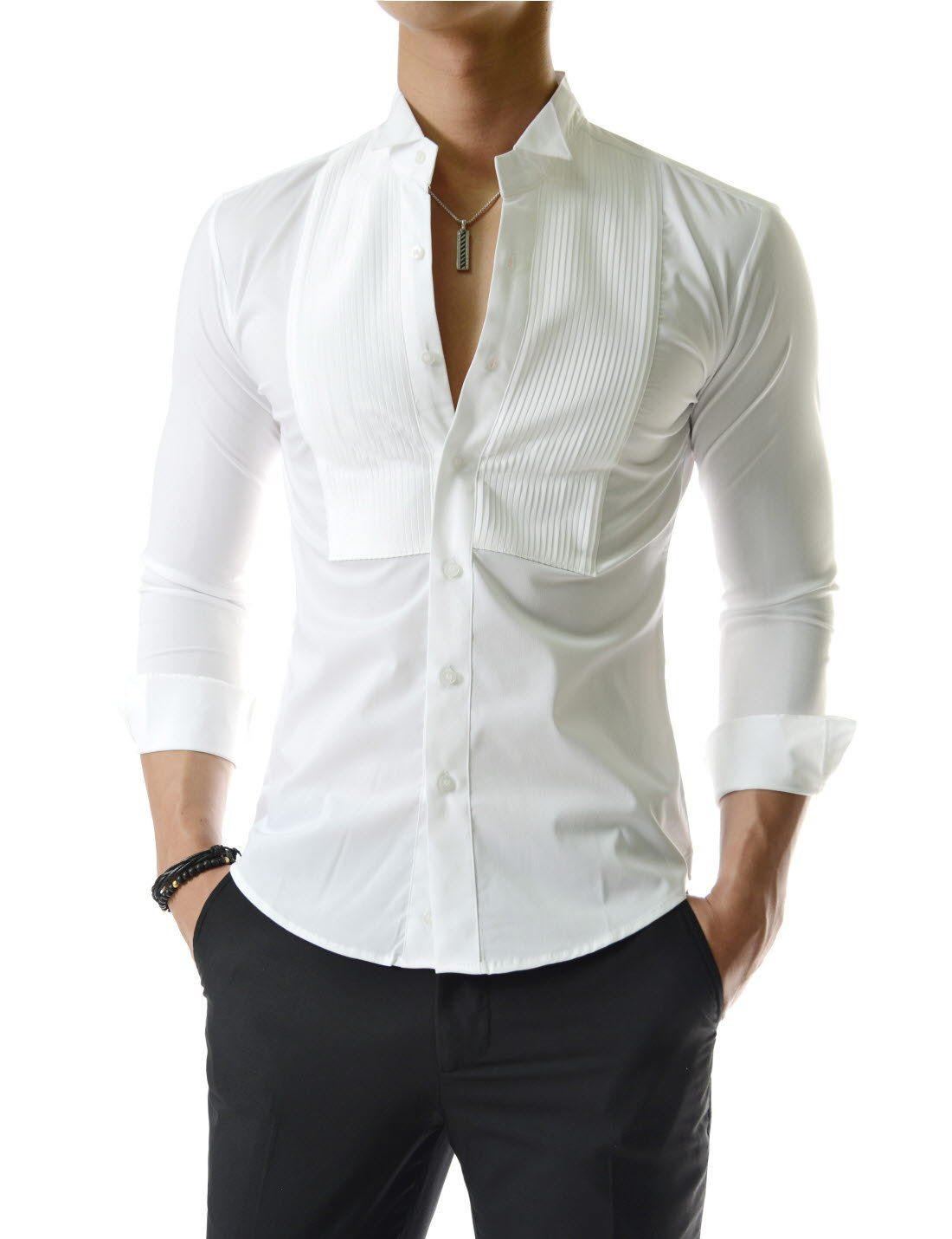 Fashionable tuxedo slim wing collar pintuck long sleeve dress shirts