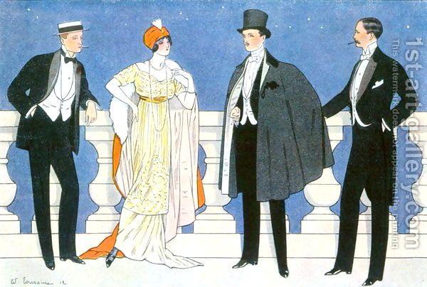 Edouard Touraine : Elegant evening dress for men and women, illustration from LHomme Elegant 1912