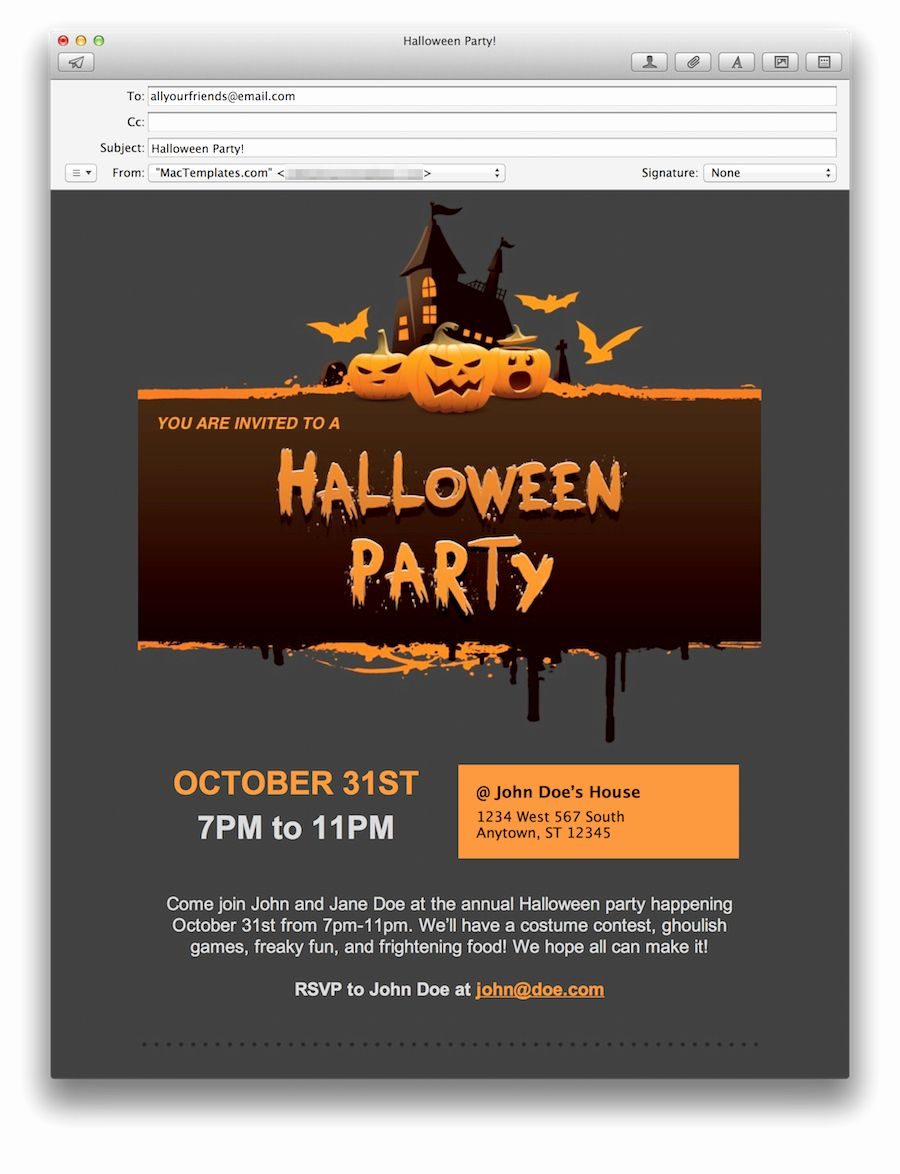 Outlook Email Invitation Template New Halloween Party Email
