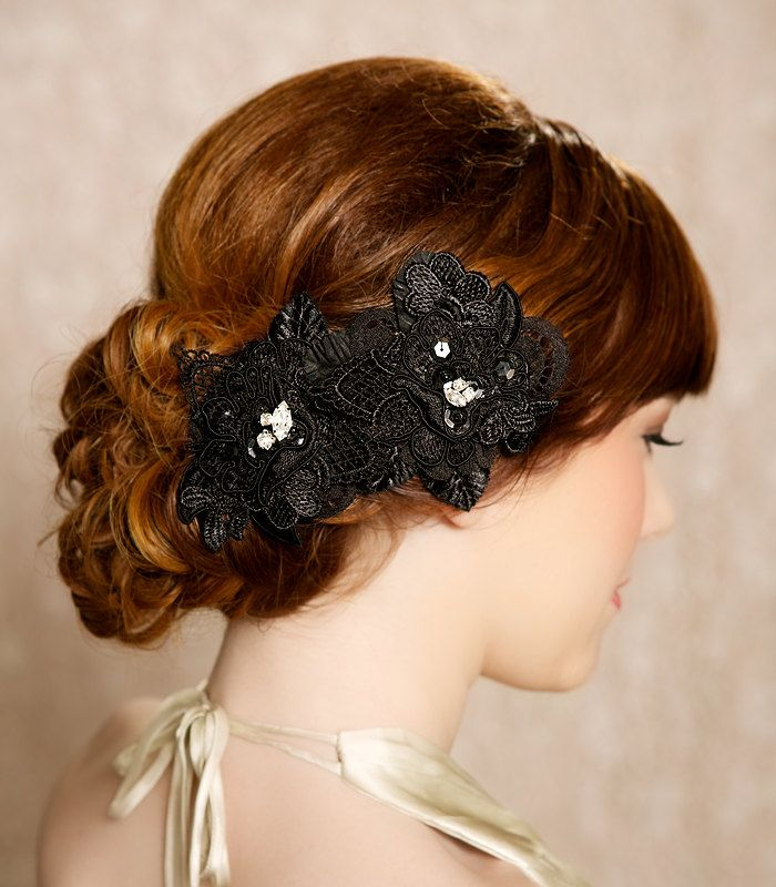 black hair flowers lace headpiece bridal hair flowers bridal hairpiece black hair clips wedding hair accessories sherri by gilded shadow