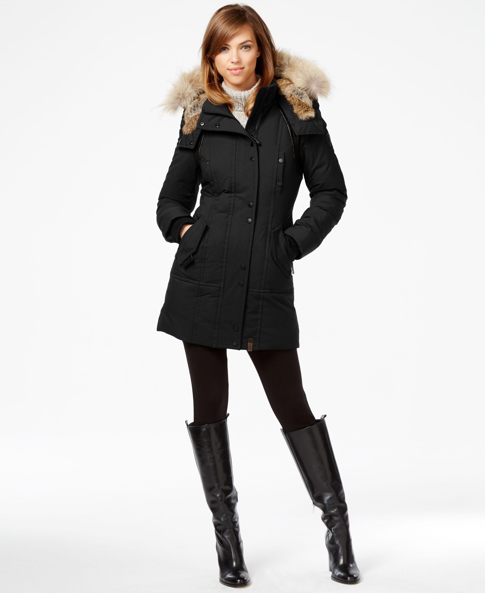 Rudsak Real-Fur-Trim Leather-Trim Coat   fashions   Pinterest ...