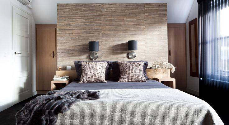 slaapkamer wand behang inloopkast ander voorbeeld met behang