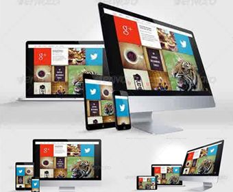 responsive web mockups with multi devices – file psd | mockups, Powerpoint templates