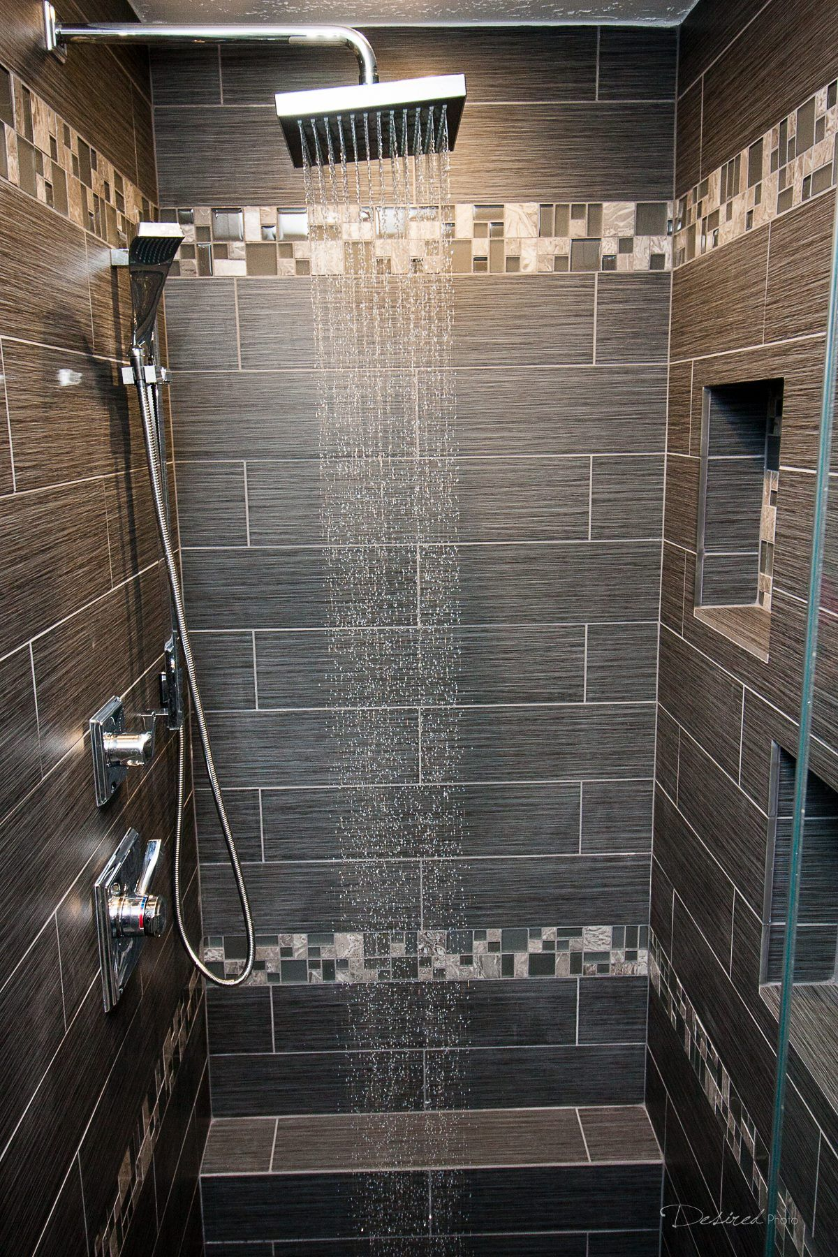 Large Tiles With Smaller Accent Strips Shower With Emser