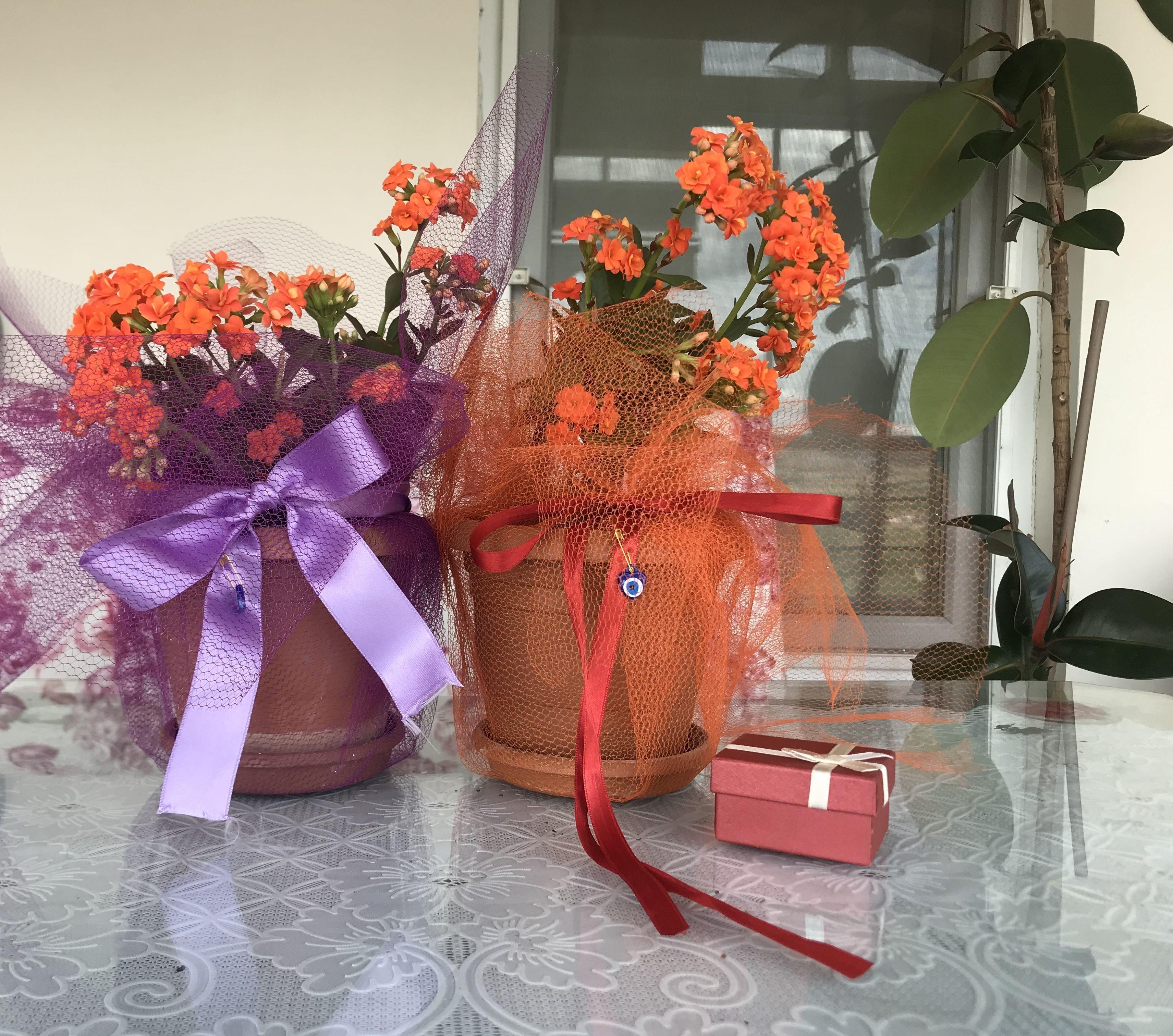 Anneler günü için kendi büyüttüğüm çiçekten hediyelik hazırladım.