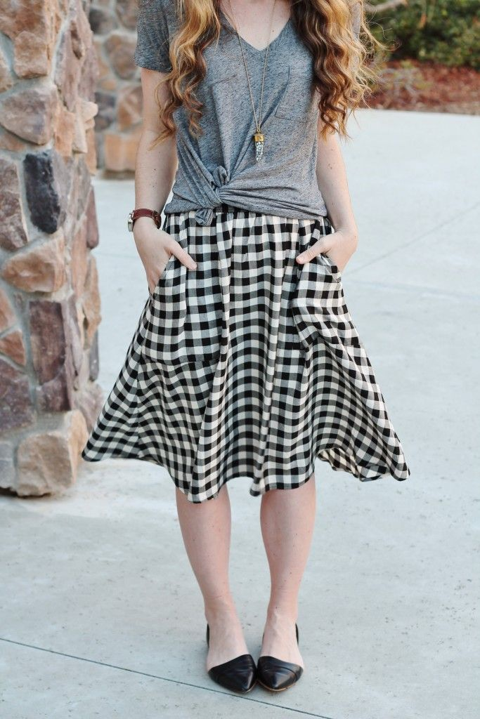 gingham midi skirt for day & play // Shawna Leeann in our Johanna Necklace in Mother of Pearl