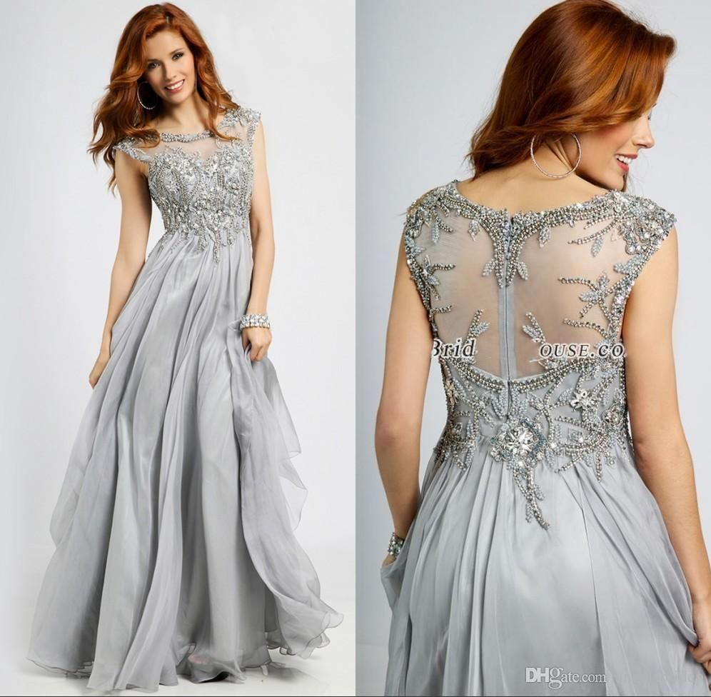 Silver Grey Mother Of The Bride Dress Scoop Neck Capped Sleeves Beading Chiffon Full Long Mother