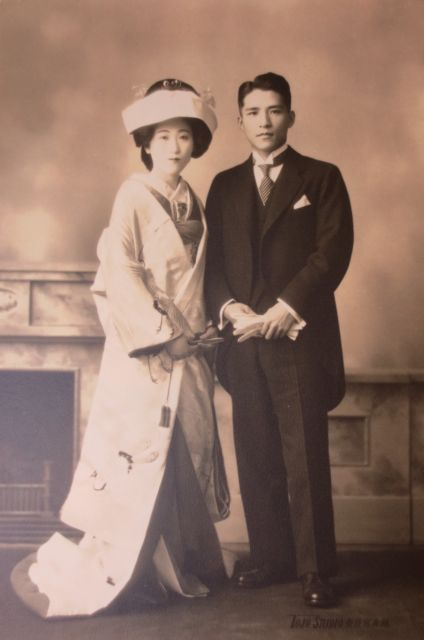 Large Vintage 1920s Japanese Original Wedding Couple Photo